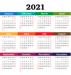 calendar for 2021 year week starts sunday vector image
