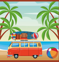 Camper van and beach items vector
