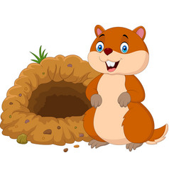cartoon groundhog in front of its hole vector image