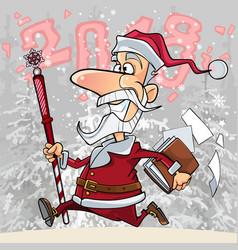 cartoon santa claus is running through the woods vector image