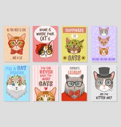 cats cards cartoon cute kittens lovly pats vector image