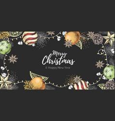 christmas holiday hand drawing poster vector image