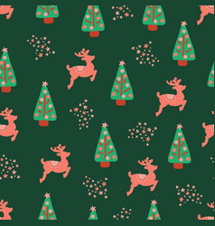 christmas holidays trees reindeer pattern vector image