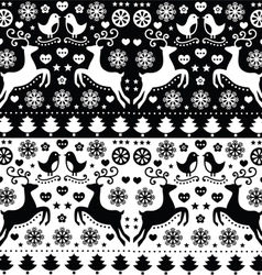 Christmas seamless monochrome fok pattern vector