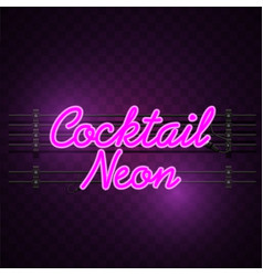 cocktail neon sign purple background image vector image