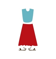 Color silhouette with female clothing dress large vector