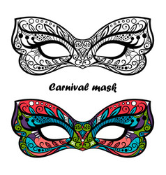 Coloring page carnival masks vector