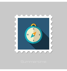 Compass flat stamp Summer Marine vector image