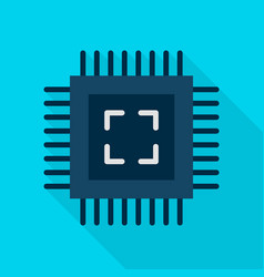 Computer chip flat icon vector