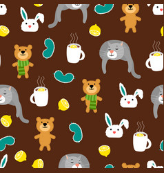 cozy autumn seamless pattern with bears and cats vector image