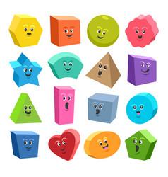 Cute 3d geometric shape characters vector