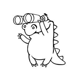 Cute dragon looking through binoculars vector