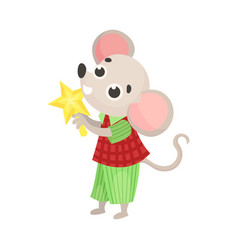 Cute little mouse with a star vector