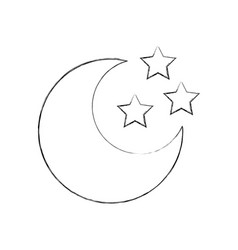 Cute moon with stars vector