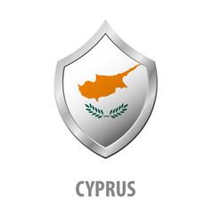 cyprus flag on metal shiny shield vector image