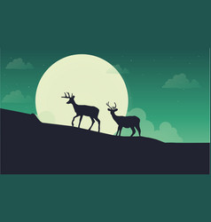 Deer with moon scenery silhouette vector