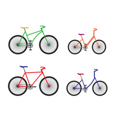different types bicycles sport equipment vector image