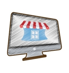 Drawing online shopping computer mobile marketing vector