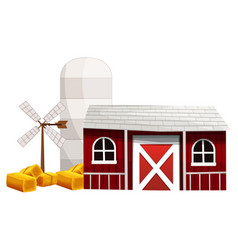 farm scene with silo and barn vector image
