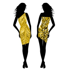 fashion girls in golden vector image