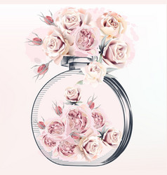 Fashion with perfume bottle butterflies and rose vector