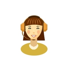Female customer support operator with headset icon vector image