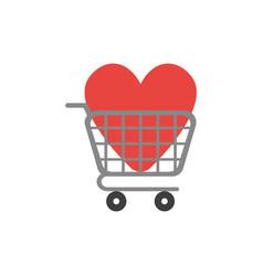 flat design concept heart inside shopping cart vector image