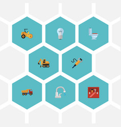 Flat icons tractor steamroller bulb and other vector