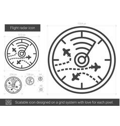 Flight radar line icon vector