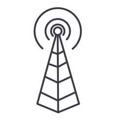 Frequency antennaradio tower line icon vector
