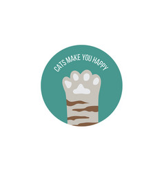 funny phrase and cat paw in frame flat cartoon vector image