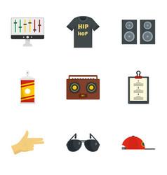 Gangsta rap icon set flat style vector