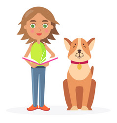 Girl with short hair stands with dog and hold book vector