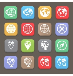 globe earth flat icon set vector image