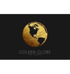 globe sign golden logo creative logo vector image