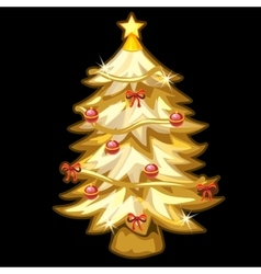 Gold Christmas tree with toys on black background vector
