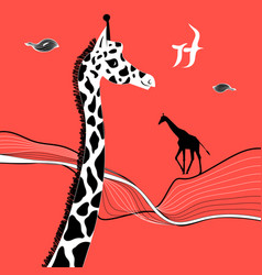 graphic beautiful portrait a giraffe vector image