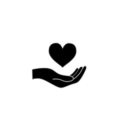 hand hold a heart healthcare concept black icon vector image