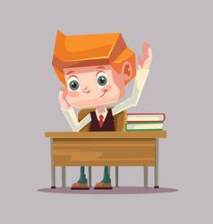 Happy smiling school boy character raising hand vector