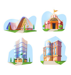 Hotel casino gallery museum circus buildings vector