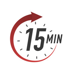 Icon 15 minutes timer color style vector