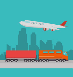 Import free shipping train and airplane vector