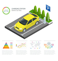Infographics and green electric car charging point vector