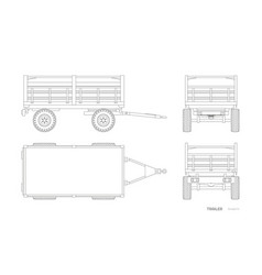 isolated outline drawing tractor trailer vector image