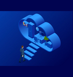 Isometric cloud office with people concept web vector
