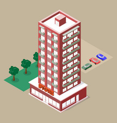 Isometric multistory building with store and vector