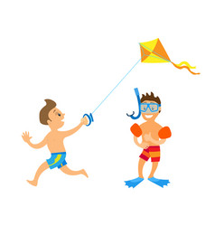kids on beach vacation children boys isolated vector image