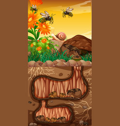 landscape design with groundhogs and bees vector image