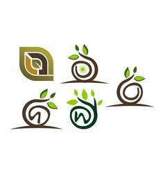 leaf template set vector image