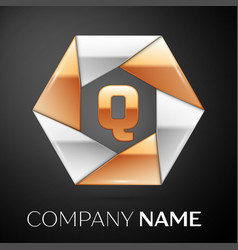 Letter q logo symbol in the colorful hexagon on vector